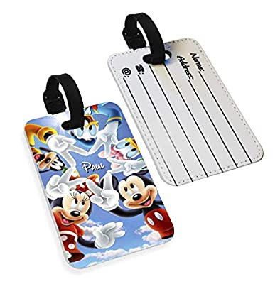 Disney Mickey Minnie Donald Daisy Goofy Custom Name Faux Leather Passport Holder & Luggage Tag Combo