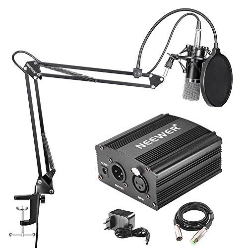 Neewer NW-700 Professionelle Kondensator-Mikrofon & NW-35 Hänge Ausleger Scherenarm Ständer mit eingebauten XLR-Kabel und Befestigungsschelle und 48V Phantomspeisung mit Adapter Set