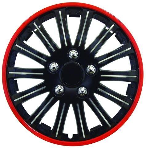 '4Radkappen Rot Schwarz 15CUPS Nieten Abdeckung Rad Fiat Grande Punto