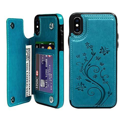 Promixc für iPhone X Hülle, Premium iPhone XS PU Leder Flipcase Brieftasche Handytasche Standfunktion Magnetisch Handycover Leder Tasche Schutzhülle Handyhülle für iPhone X/XS - Blau Iphone Leder Flip Case