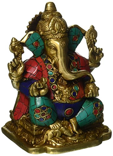 Elefanten-statue Türkis (craftvatika Ganesha Statue Hindu Herr, Elefant Gott türkis Messing Skulptur Ganpati Idol Decor Geschenk)
