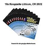 Batterie Knopfzelle 3 Volt CR 2032 für z.B. CMOS für alle gängigen PC-Mainboards (10 Stück)