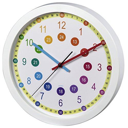 Hama analoge Kinderwanduhr/Lernuhr, zum Lernen der Zeit, ohne Ticken, Lernziffernblatt mit Ø 30 cm, geräuscharme, weiß