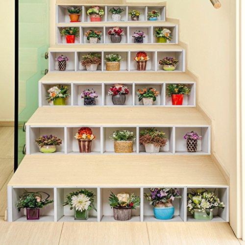 CXQWAN 3D Treppenaufkleber Individualität Kunsttöpfe Dekorierte Wandsticker Flur Wohnzimmer DIY Selbstklebende Tapete Wasserdicht Herausnehmbar