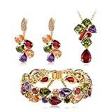AieniD Chapado en Plata Collar Pendientes Pulsera Conjunto de Joyas para Mujeres 7 Color Circón...