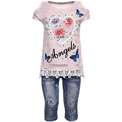 2tlg Mädchen Set Capri-Hose T-Shirt Outfit 21772 Rosa 104 Rosa Capri-set