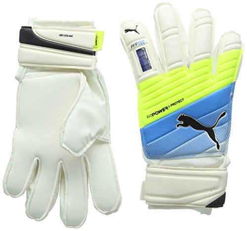 Puma Torwarthandschuhe Evopower Protect 3.3, White/Atomic Blue/Safety Yellow, 4, 041221 01