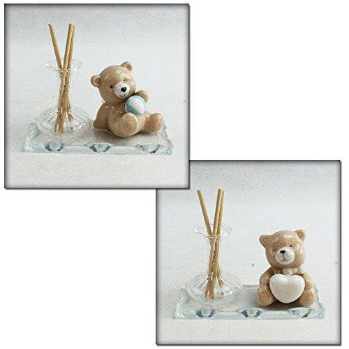 Dlm26570 profumatore in vetro soffiato con orso orsetto orsacchiotto in ceramica bomboniera