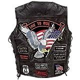 Chaleco para hombre, piel de búfalo, para motoristas, con parches, diseño de la bandera de los EE.UU., color negro