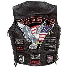 Buffalo leather-Gilet da uomo, da biker, con toppe motivo USA,in