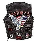 Gilet da uomo, da biker, con toppe motivo USA,in pelle di bufalo, colore: nero