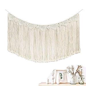Koitoy Makramee Wandbehang Tapisserie Boho Wand Dekoration Wandteppiche aus Baumwolle 40cm W x 80cm L(White)