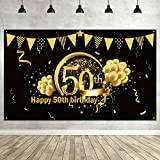 50th Birthday Party Decoration, Extra Large Fabric Sign Poster for 50th Anniversary Photo Booth Backdrop Background Banner, 50th Birthday Party Supplies