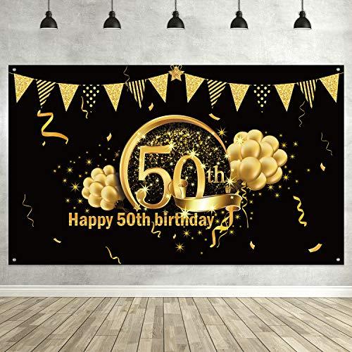 Blulu 50 Jahre Geburtstag Schwarz Gold Party Dekoration, Extragroßes Gewebe Schwarz Gold Zeichen Plakat für 50 Jahrestag Fotoautomat Fahne, 50 Jahre Geburtstag Party Bevorzugungen