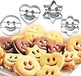 Set di 4 stampi in acciaio inox a forma di faccine sorridenti, per pasticceria, biscotti, per taglio di frutta, verdura, decorazione di torte(attività per bambini)