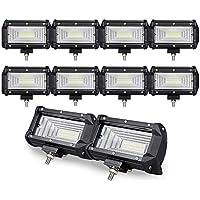 10PCS 5 inch 72W Doble fila10D LED luz de trabajo Barra Flood Beam DC 12V-24V vehículos todoterreno 4x4 Atvs Utvs Barco