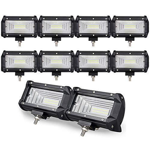 10PCS 5 inch 72W Doble fila10D LED luz trabajo