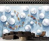 YUANLINGWEI Benutzerdefinierte Wandbild Tapete Einfache 3D Stereo Ball Fisch Muster Wohnzimmer Wand Dekoration Wandbild Tapete,250Cm (H) X 330Cm (W)