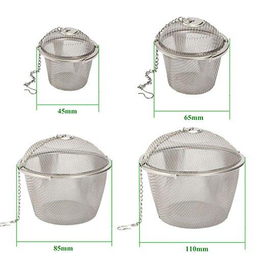Generic 4Größe Edelstahl Teesieb-Ei Tee Verschlusskugel Tee Spice Mesh Herbal Ball, Silber, Size XXL