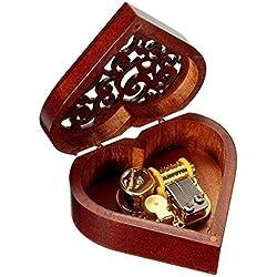 Caja de música de madera con forma de corazón