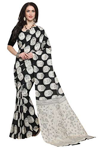 EthnicJunction Buddha Face Printed Kalamkari Saree With Unstitched Blouse Piece(EJ1168-7009, Black Buddha...