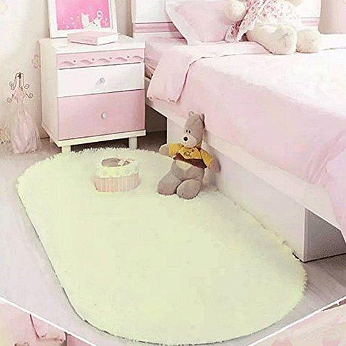 40x 60cm camera da letto tappeto per pavimento, woopower carino ovale velluto tappeto addensare coperta per soggiorno camera da letto beige