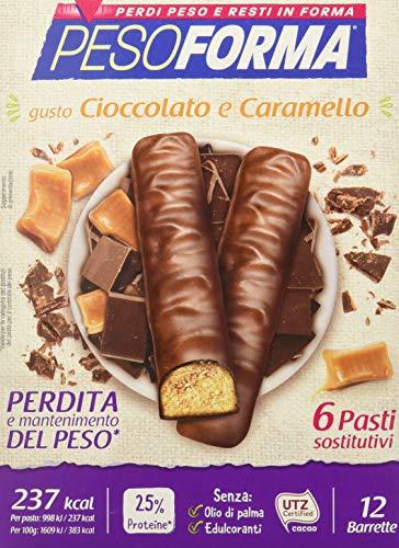 Pesoforma Barrette Cioccolato e Caramello Pasto sostitutivo dimagrante ricco proteine 6 pasti 372 gr