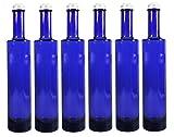 Viva-Haushaltswaren Gabriele Hesse e.K. 6 x Ölflasche 350 ml, Blaue Glasflasche mit Schraubverschluss Zum Selbst befüllen, inkl. Trichter