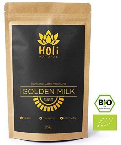 Golden Milk Sunset - BIO Kurkuma Latte Mischung. 30 Portionen - Erhöhte Bioverfügbarkeit - Von Natur aus hoher Curcumingehalt. Hergestellt in Deutschland - Premium Qualität. Inklusive Rezepte-Guide