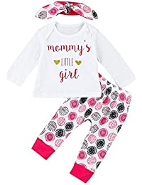 Covermason Bebé Niñas Lindo Manga Larga Carta Camiseta + Impresión Pantalones + Diademas (3PCS/1 conjunto)