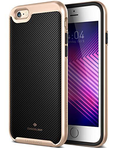Caseology iPhone 6S Plus Hülle, [Envoy Serie] Schlanke Hülle Premium PU Leder Doppelte Schutzschicht [Carbonfaserschwarz - Carbon Filber Black] für Apple iPhone 6S Plus (2015) & iPhone 6 Plus (2014)