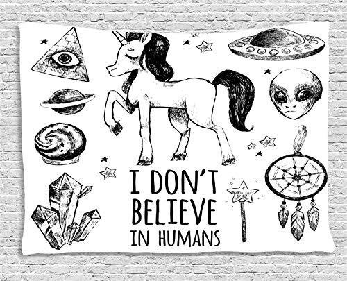 ABAKUHAUS Unicornio Tapiz de Pared, Set Místico con Pirámides Aliens Atrapasueños Ocultismo Estampa Desgastada Arte, para el Dormitorio Apto Lavadora y Secadora Estampado Digital, 150 x 100 cm, Negro
