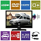 HKC 16M4C 15,6 Zoll (39,6 cm) LED-Fernseher mit DVD-Player (HD-Ready, Triple Tuner DVB-T2/S2/T/S/C, CI+.265/HEVC. 230V / 12V Kfz-Adapter, schwarz) [Energieklasse A +]
