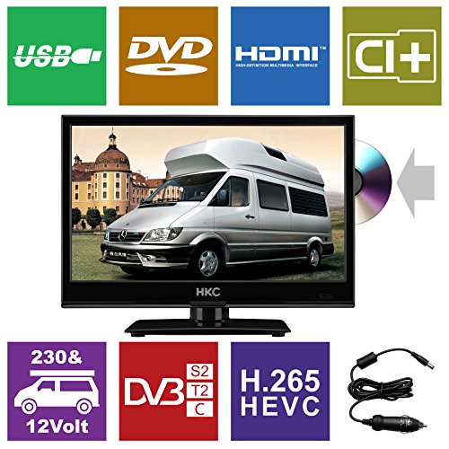 fernseher triple tuner dvd player HKC 16M4C 15,6 Zoll (39,6 cm) LED mit DVD-TV (Triple Tuner, DVD-Player, DVB-T2 /S2/T/S/C,CI+, H.265 /HEVC. 230V/12V, 12Volt Kfz-Ladegerät/Kabel im Lieferumfang enthalten) Schwarz, Energieklasse A+