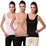 TeeMoods Womens Packs of Three, Black, Beige and White Camisoles