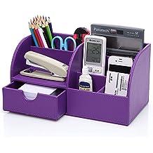 KINGFOM ™ 7compartimentos en piel sintética multi-fonctionnels organizador de escritorio, color Lilas