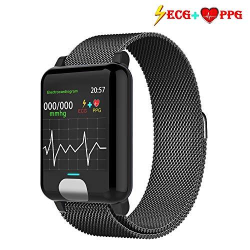 ISWIM Fitness Armband ECG+PPG mit Pulsmesser Wasserdicht IP67 Fitness Tracker Aktivitätstracker Pulsuhren Smartwatch (Metall schwarz)