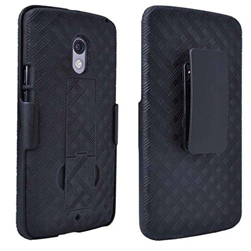 Droid Maxx 2Fall, Moto X Play Schutzhülle, Rom Tech OEM Schutzhülle Slim Handy Case mit Ständer Clip Holster für Motorola Droid Maxx 2-Schwarz Droid Razr Fall