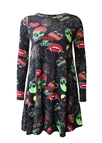 Comfiestyle - Robe - Patineuse - Manches Longues - Femme Multicolor Trick & Treat