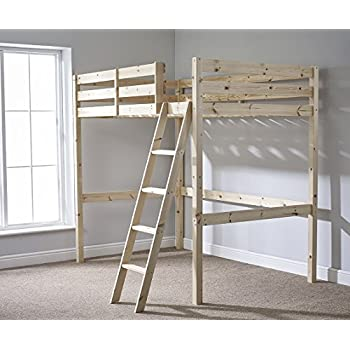 double 4ft 6 loft bunkbed wooden high sleeper can be. Black Bedroom Furniture Sets. Home Design Ideas