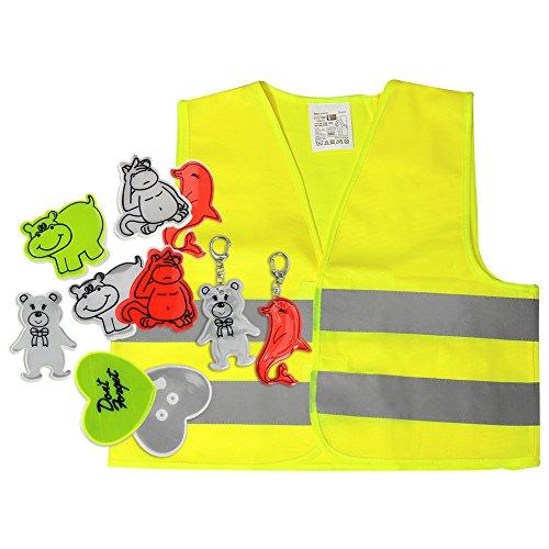 COM-FOUR® 11-teiliges Kinder Set Reflektoraufkleber mit Warnweste, Schlüsselanhänger, reflektierende Sticker und Schlüsselanhänger mit lustigen Motiven (Set 1)