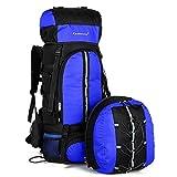 Amoyie Trekkingrucksäcke-3-teilig Set (70 L Rucksäcke + 10 L Rucksäcke Radsport + Regenponcho Erwachsene), Wasserdicht Wanderrucksack Taschen für Camping Outdoor Sport Reisen, Blau