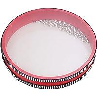 Yibuy 20x20x3.5 cm Redondo de Plástico Rojo Borde Ocean Bead Drum Juguete Educativo Preescolar de Sonido Marino Suave para Niños