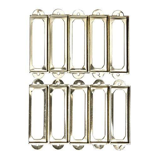 TEN-G Cabinet Hardware Antique Brass Metal Label Pull Frame Handle File Name Card Holder for Furniture Cabinet Drawer Box Case Bin 10Pcs - (Color: Gold) - Bin Pull-antique Brass