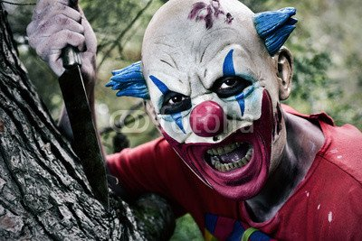 otiv: scary evil clown with a knife #123908379 - Bild auf Alu-Dibond - 3:2-60 x 40 cm/40 x 60 cm (Scary Clown Bild)