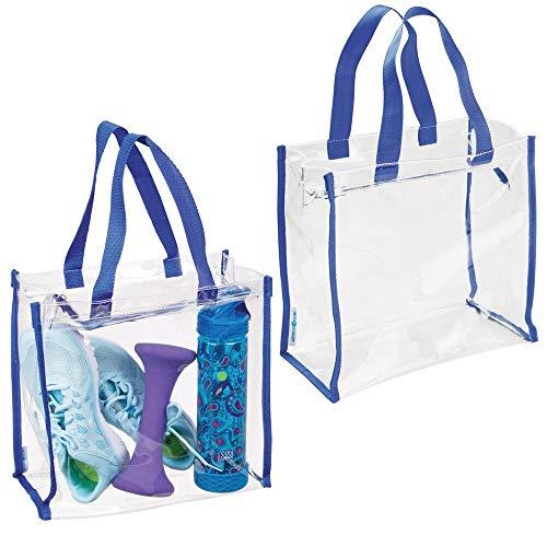 mDesign 2er-Set Sporttasche für Trainingsausrüstung, Kleidung, Accessoires - wasserfeste Tasche aus Kunststoff für Fitnesscenter - Moderne Umhängetasche mit Henkeln - durchsichtig und blau