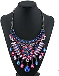 TBOP NECKLACE THE BEST OF PLANET Simple And Stylish Jewelry Diamond Necklace In Blue And Pink Color