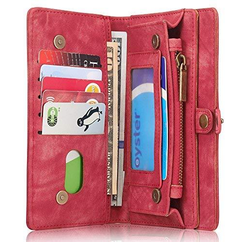 INFLATION iPhone Samsung Leder Handytasche Case Hülle Geldbörse mit  Kartenfach abnehmbar Magnet Handy Schutzhülle für iPhone 6 Plus iPhone 6S  Plus in Rot d8ccc39e0e