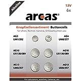 Arcas 12706000AG Set 6pièces (1x piles bouton alcalines AG3, 1x AG4, 2x AG10, 2x AG13)