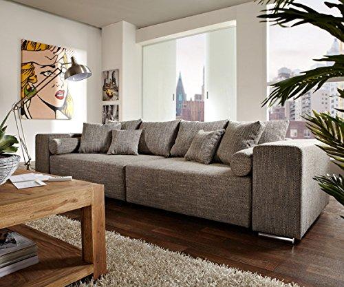 DELIFE Couch Marbeya Hellgrau 290×110 cm mit Schlaffunktion Big-Sofa